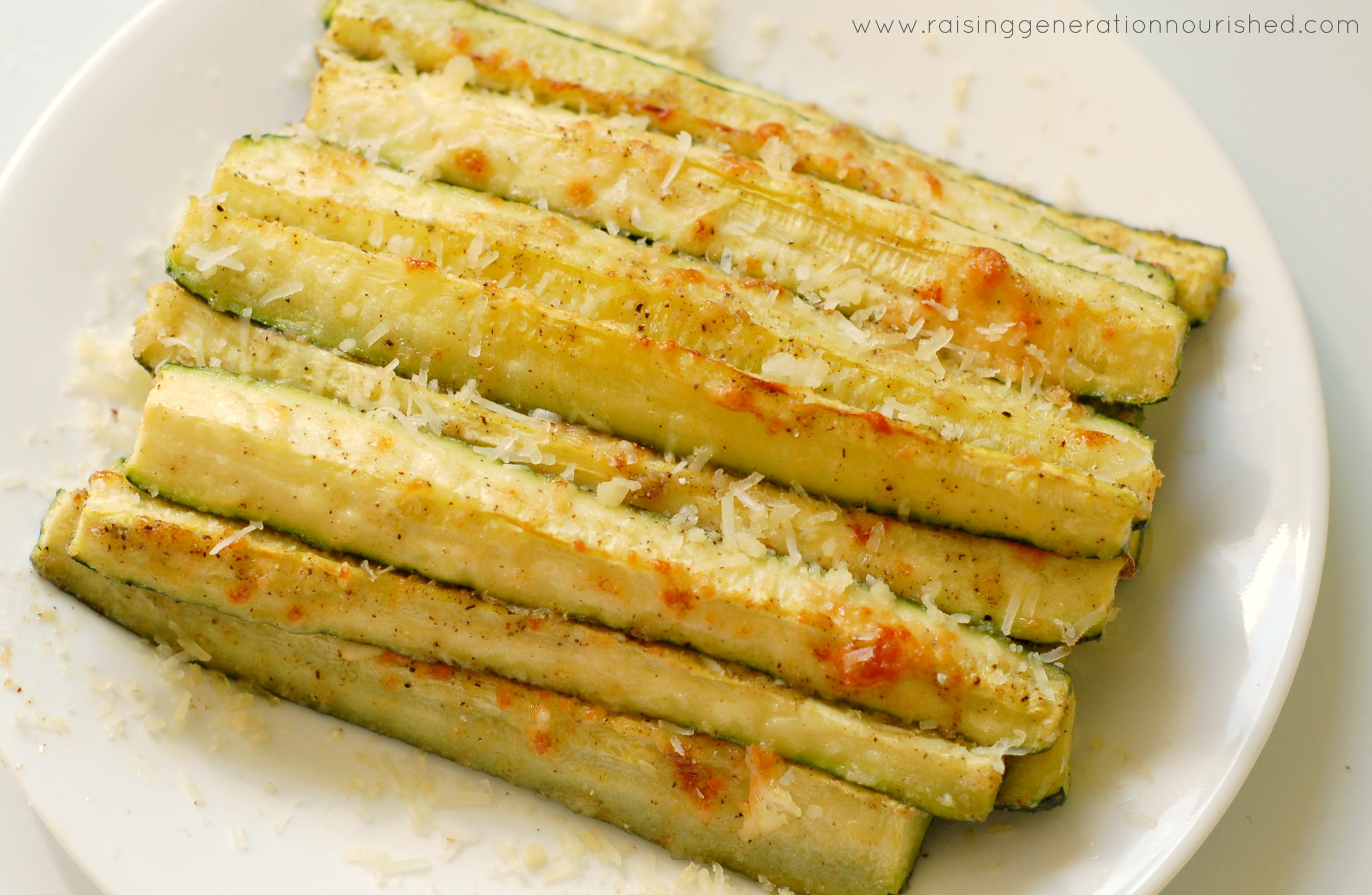 Parmesan Baked Zucchini Spears - Raising Generation Nourished