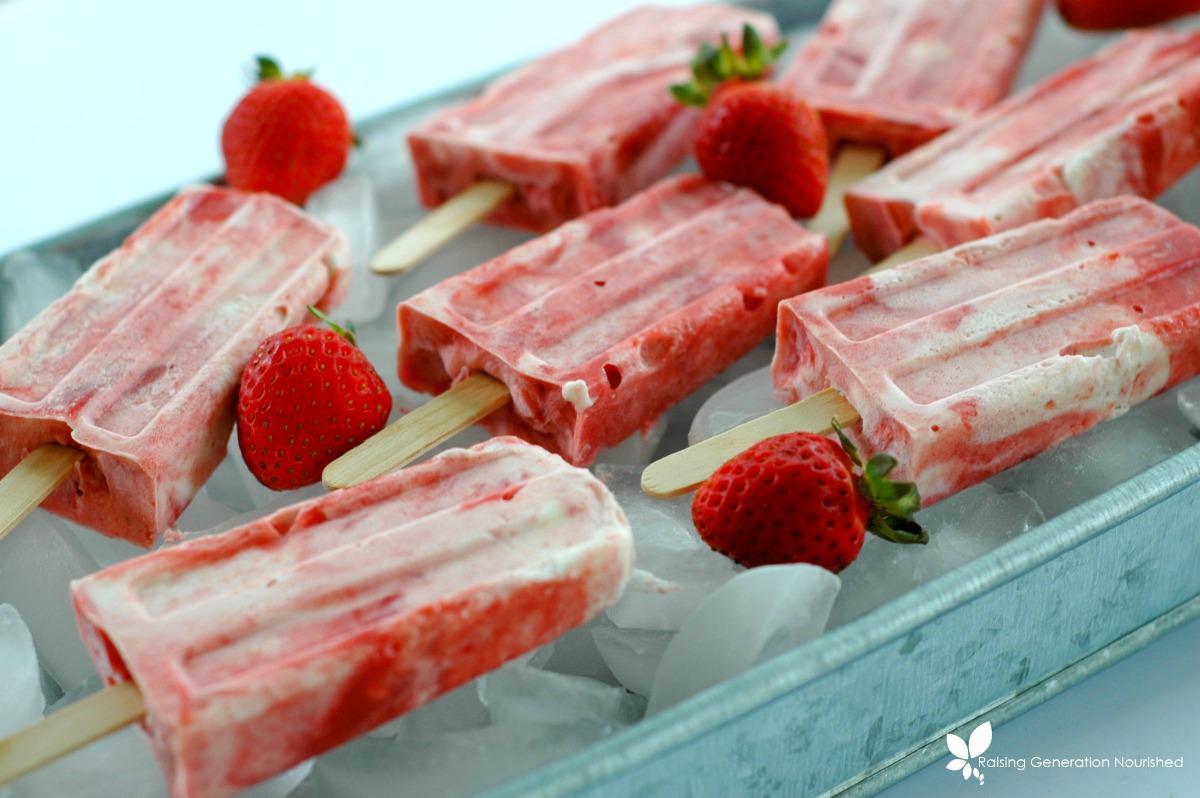 Strawberry Rhubarb Creamsicles