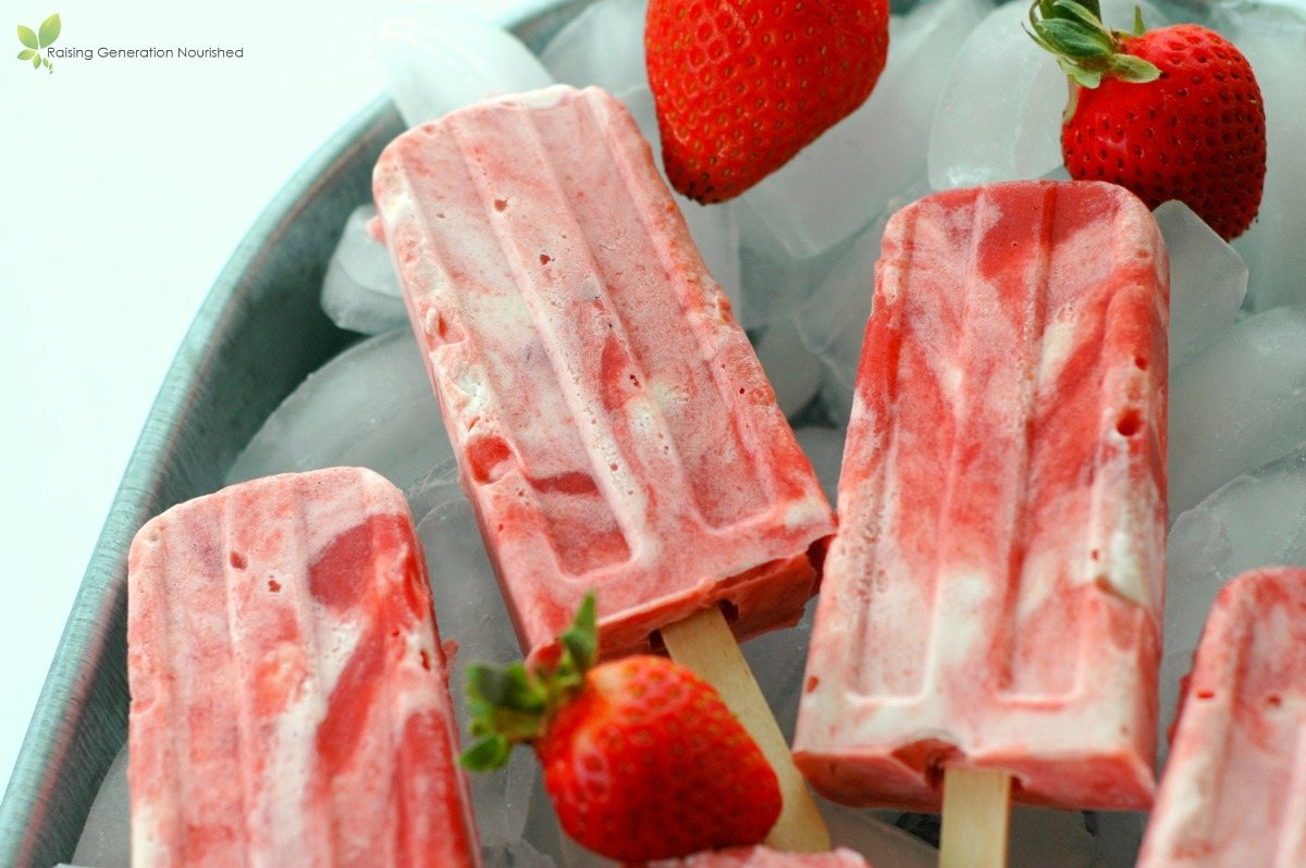 Strawberry Rhubarb Creamsicles