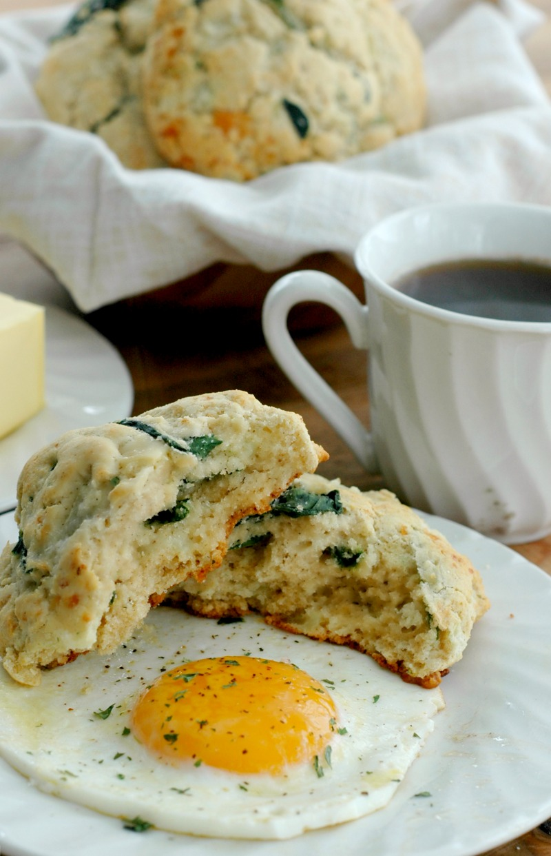 Gluten Free Savory Spinach & Cheese Breakfast Biscuits :: Soft and buttery inside, crisp cheesy outside, these savory spinach and cheese biscuits make the perfect breakfast topped with a fried egg, or just dripping with butter!