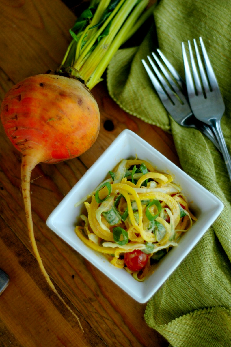 Golden beets have a slightly sweeter taste than red beets and I find that the milder earthy flavor works really good for kids. Getting those veggies into a smaller, easier to chew form (shredded or spirilized) and tossed with a super yummy dressing helps too!
