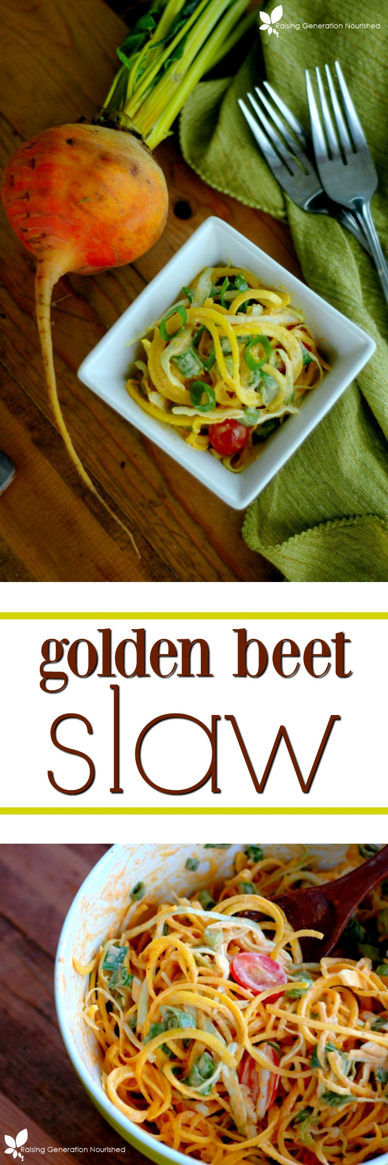 Golden Beet Slaw :: Fresh and mildly sweet golden beets tossed in a delicious creamy dressing make for a cool, crisp kid pleasing side!