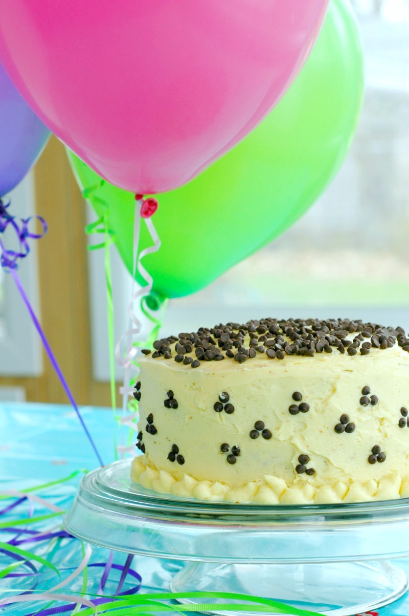 Gluten Free Chocolate Chip Birthday Cake! :: Celebrate the happiest of birthdays with gluten free, allergen friendly chocolate chip cake!