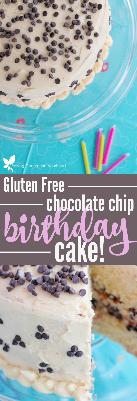 Gluten Free Chocolate Chip Birthday Cake! :: Celebrate the happiest of birthdays with gluten free, allergen friendly chocolate chip cake!