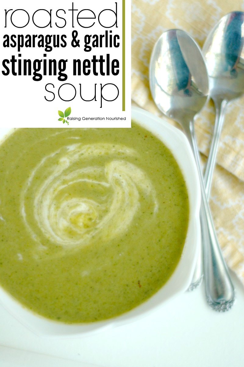 Roasted Asparagus & Garlic Stinging Nettle Soup :: Enjoy the freshest tastes of spring with roasted garlic and asparagus soup filled with nourishing, mineral rich stinging nettles!