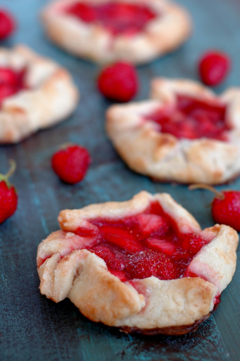 Strawberry Rhubarb Mini Galettes :: Simple Prep, Gluten Free, & Honey Sweetened!