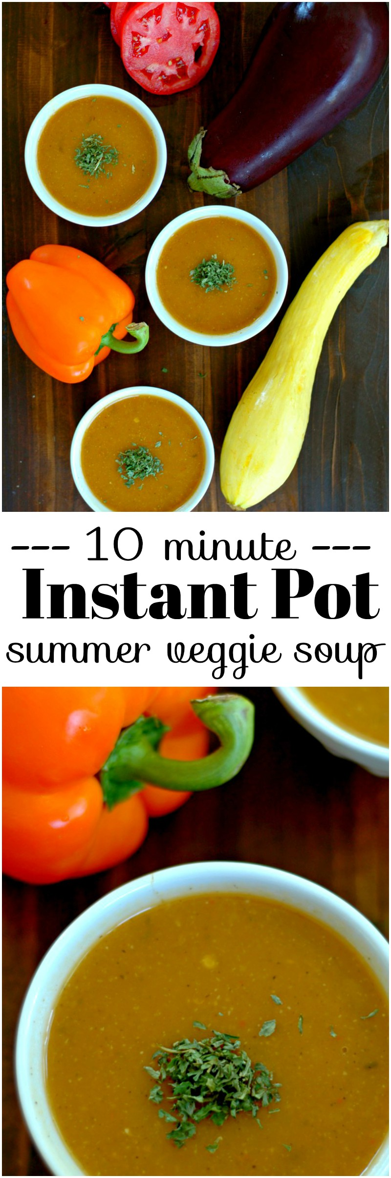 Instant Pot Summer Vegetable Soup :: Vibrant color and full of fresh, in season summer flavor in just 10 minutes for an Instant Pot kid friendly summer soup!
