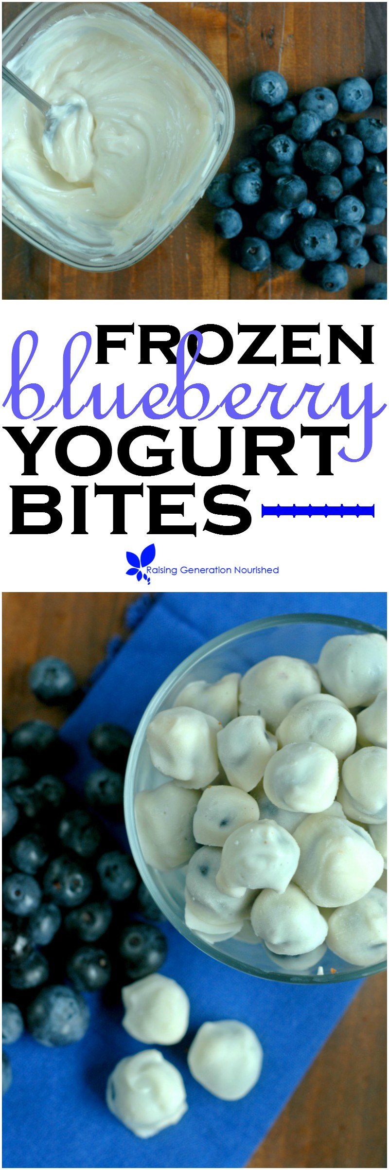 Frozen Blueberry Yogurt Bites :: Quick, sweet little yogurt covered blueberry bites perfect for little hands!