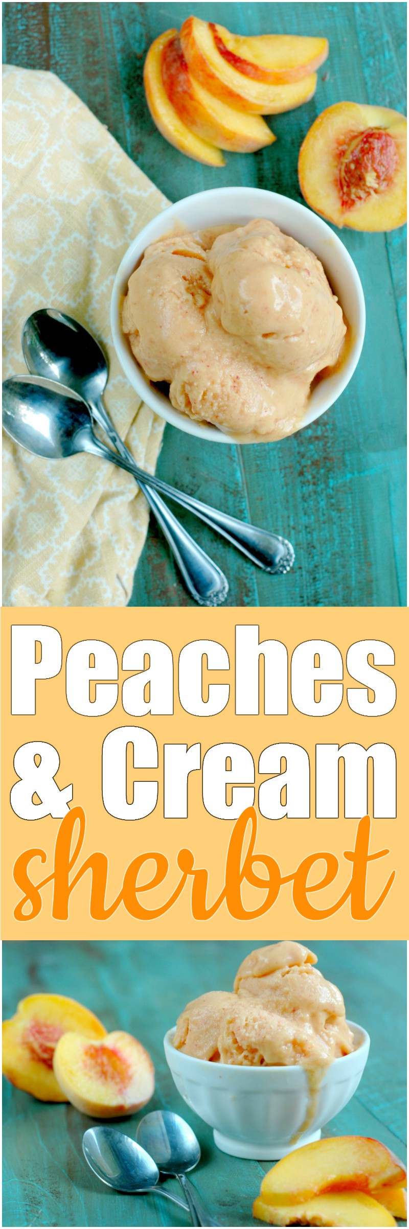Peaches & Cream Sherbet :: Fresh summer peaches meet rich and creamy coconut cream for the sweetest end to the summer fruit season!