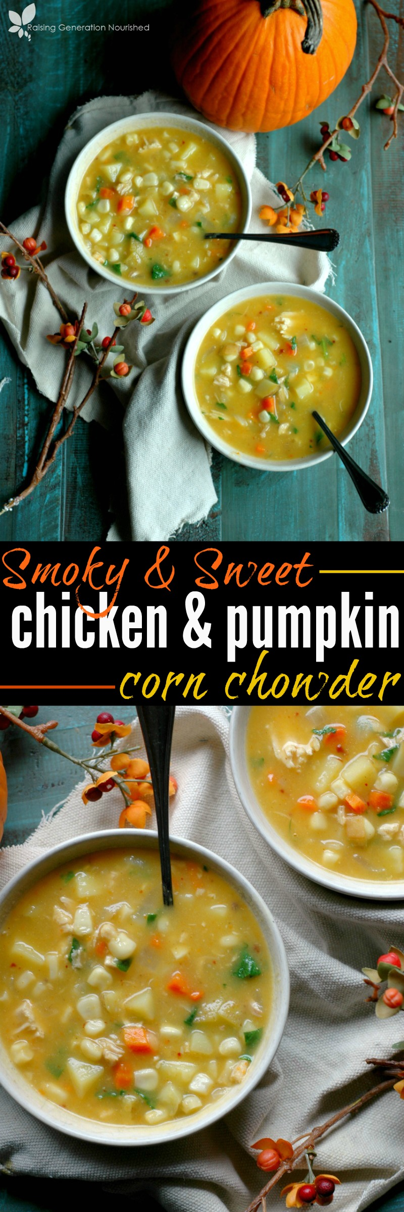 Smoky & Sweet Chicken & Pumpkin Corn Chowder :: Creamy and comforting meets the savory heat of chipotle in this sweet and smoky chicken and pumpkin corn chowder!