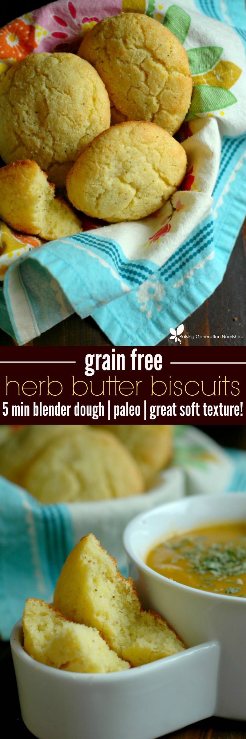 Grain Free Herb Butter Biscuit :: 5 Minute Blender Prep!