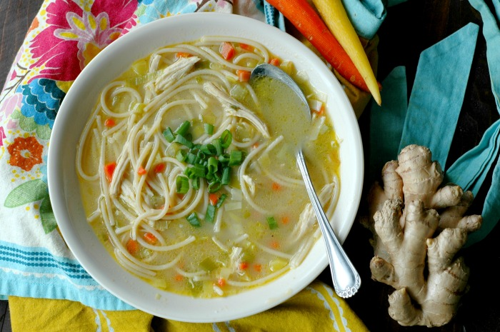 Gluten Free Ginger and Leek Chicken Noodle Soup