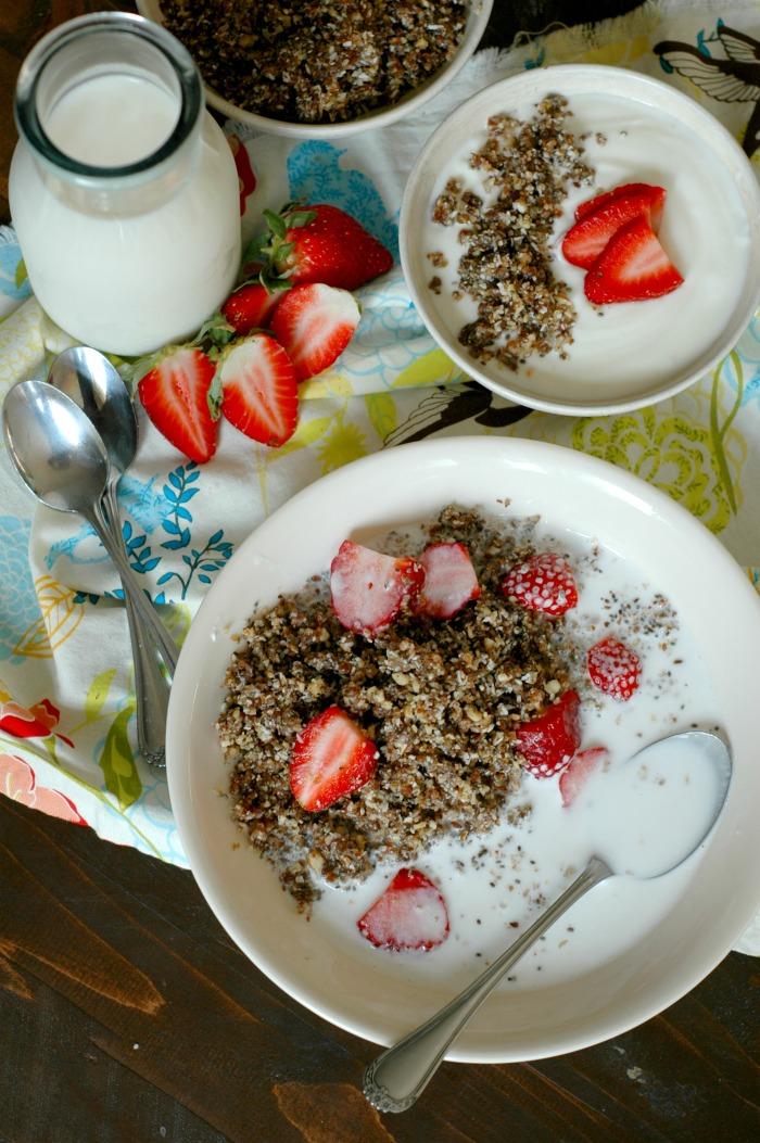 No Cook Paleo Granola :: 10 Minute Prep, Grain Free, & Protein Rich!