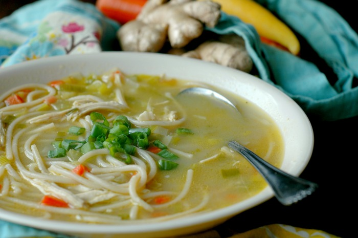 Gluten Free Ginger and Leek Chicken Noodle Soup :: Grain Free Options