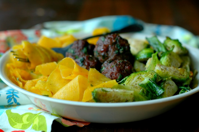 Paleo Herb Roasted Grassfed Meatballs and Brussel Sprouts with Butternut Squash Noodles
