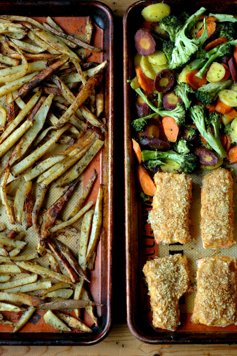 Sheet Pan Honey Mustard Crusted Salmon with Restaurant Style French Fries and Roasted Veggies :: Gluten, Grain, Nut, Egg, Soy, and Refined Sugar Free!