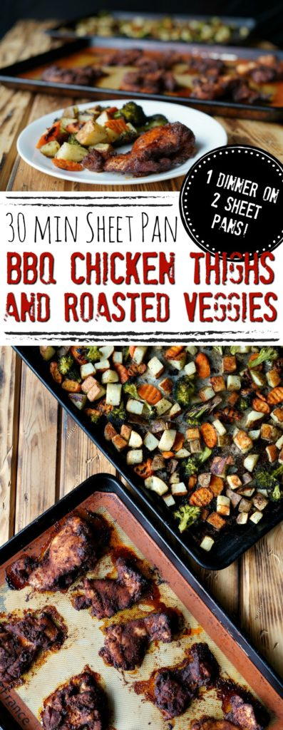 30 Minute Sheet Pan BBQ Chicken Thighs and Roasted Veggies :: 1 Dinner on 2 Sheet Pans!