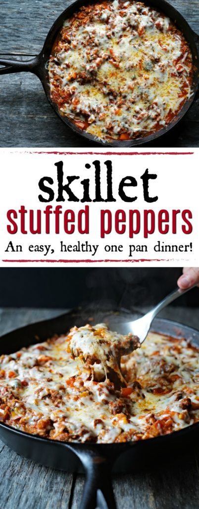 Skillet Stuffed Peppers :: An Easy, Healthy One Pan Dinner!