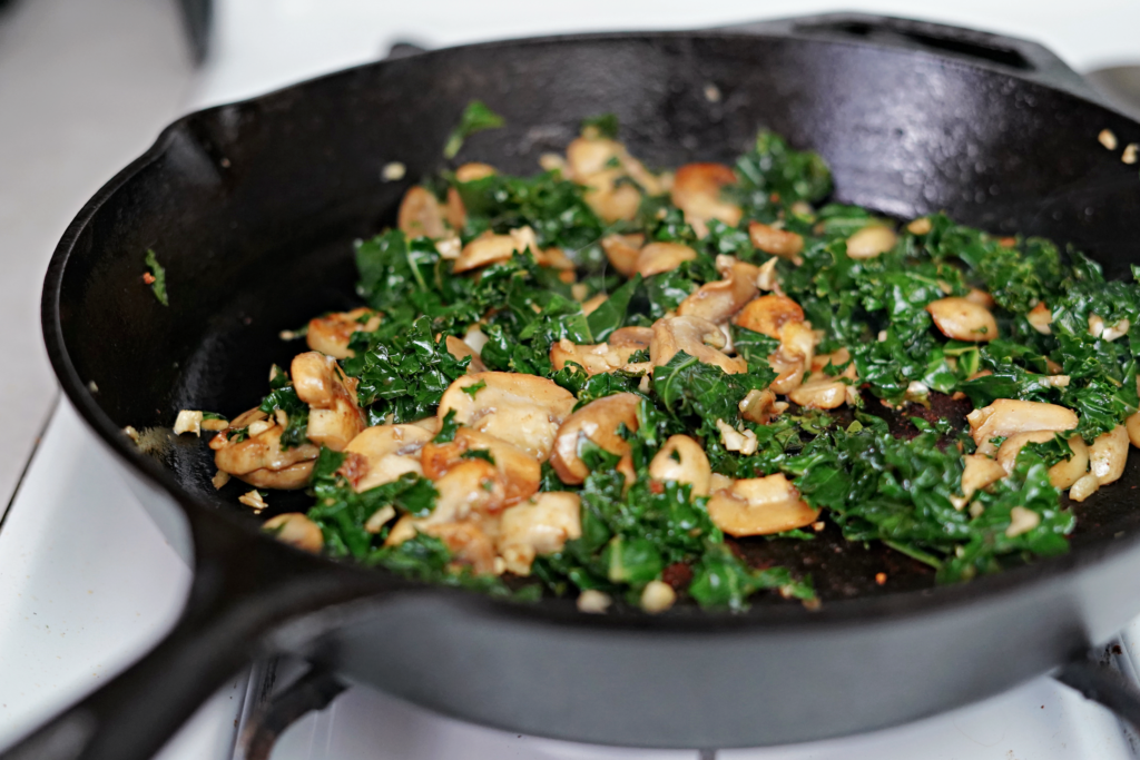 Skillet Chicken and Kale with Garlic Mushroom Sauce