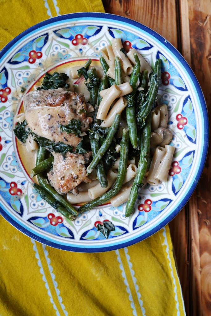 Skillet Chicken and Kale with Garlic Mushroom Sauce