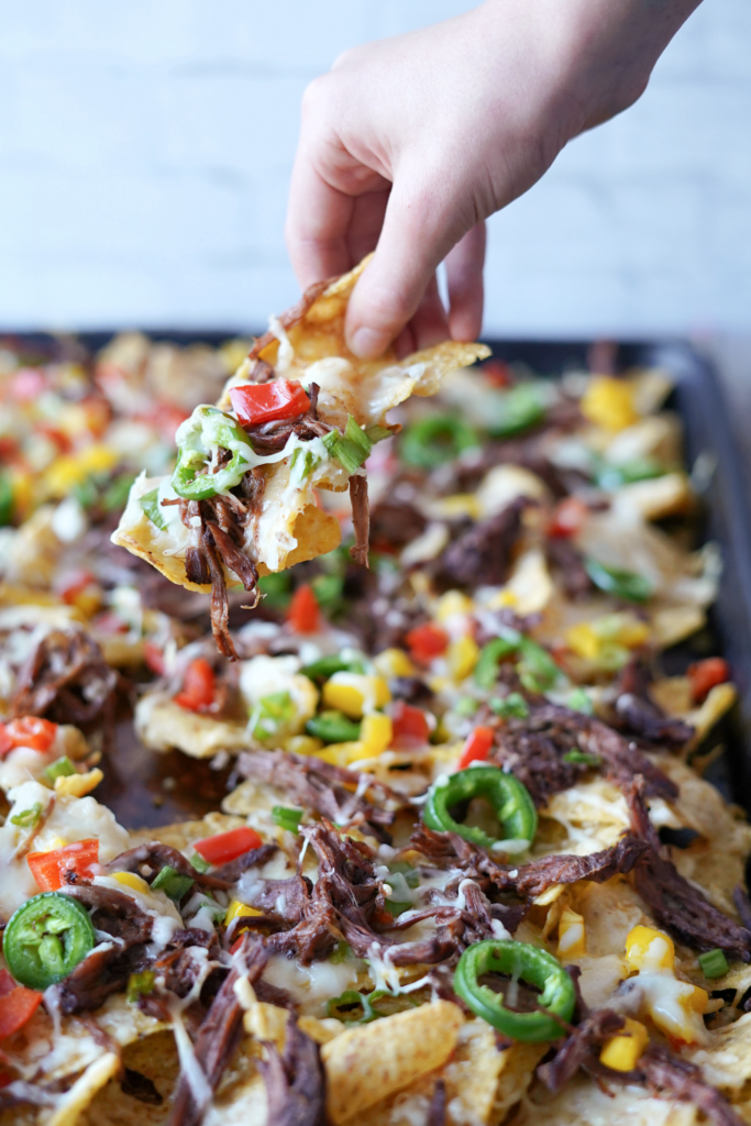 Sheet Pan Nachos with Pulled Brisket or Beef Roast
