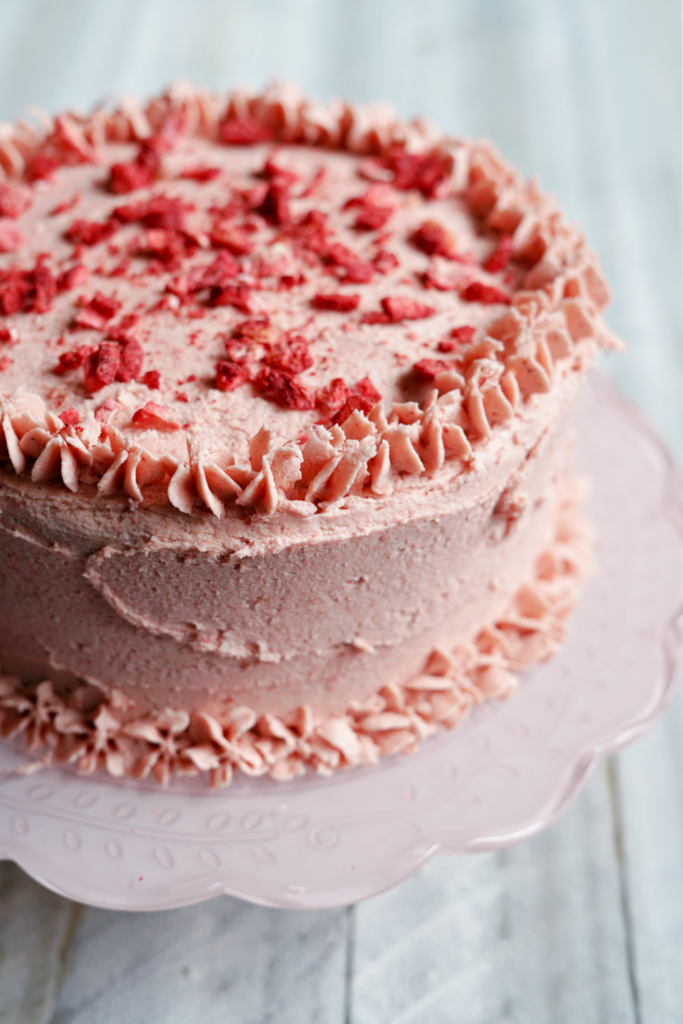 Vanilla Cake With *The* Best Strawberry Frosting! :: Gluten Free, Dairy Free, Nut Free, Naturally Flavored, & Naturally Dyed!