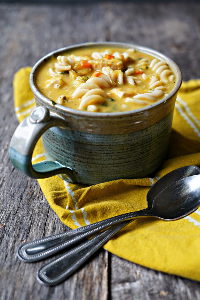 Roasted Pumpkin Chicken Noodle Soup